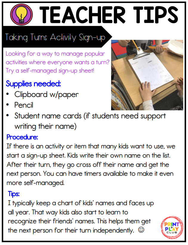 Print and store the Taking Turns Activity Sign-Up Guide for quick access at your fingertips.
