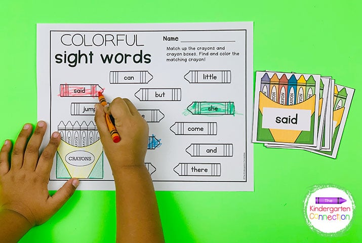 In our Colorful Sight Words activity, simply match up the crayons to their crayon boxes.