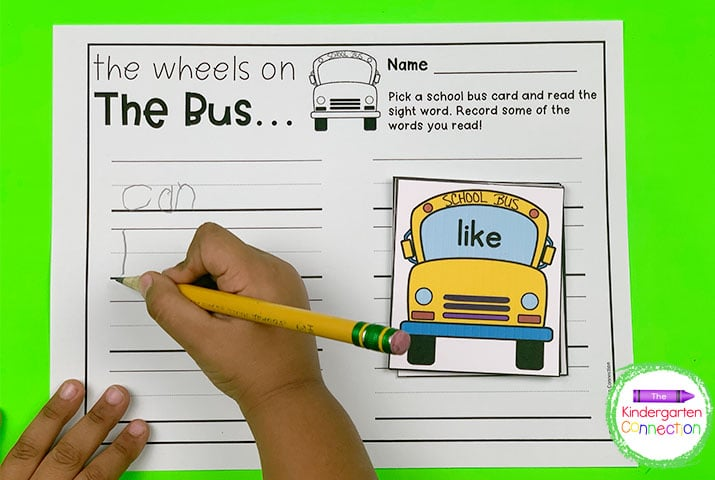 In the Wheels on the Bus activity, pick a bus and work on handwriting by writing the word on the recording sheet.