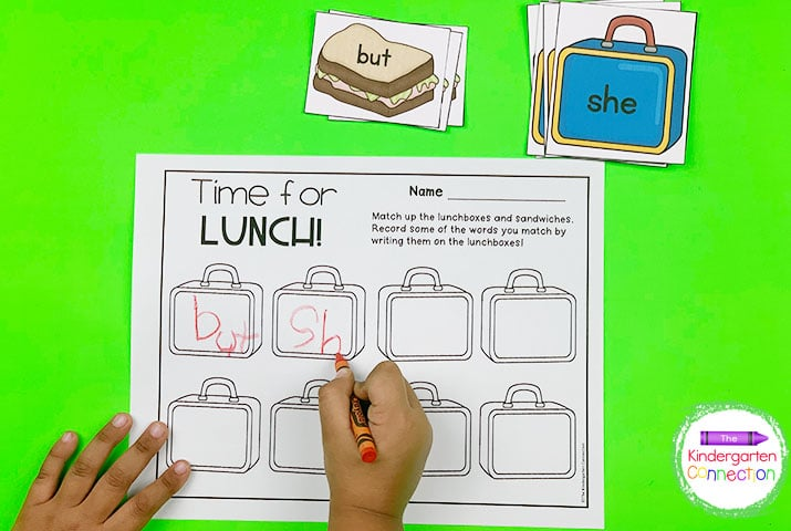In the Time for Lunch activity, match up the sandwiches and lunchboxes and record the matches!