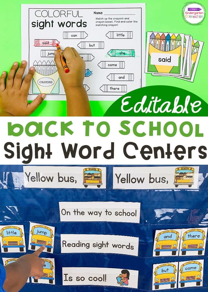 These Back to School Sight Word Games and Centers are perfect for Kindergarten and first grade and they're editable!