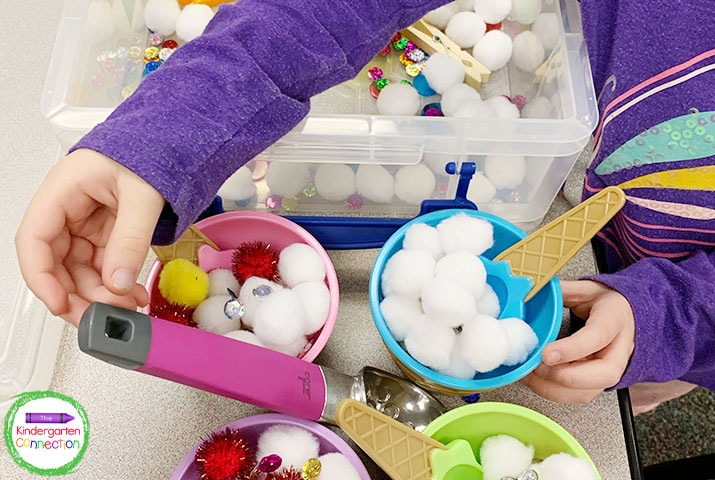 Center sign-up sheets are especially helpful at popular centers like this ice cream sensory bin.