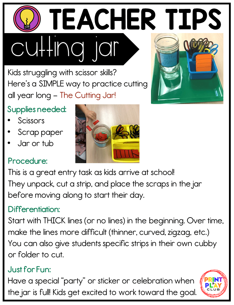 Get your FREE printable copy of The Cutting Jar guide for scissor skills practice!
