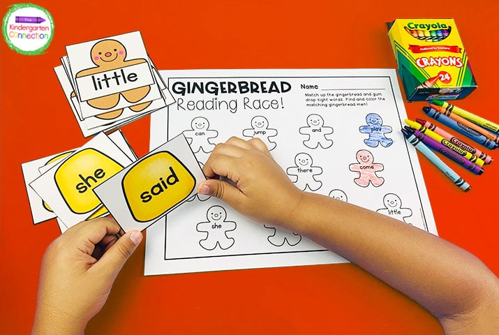 The Gingerbread Reading Race recording sheet provides tons of fun practice with sight words!