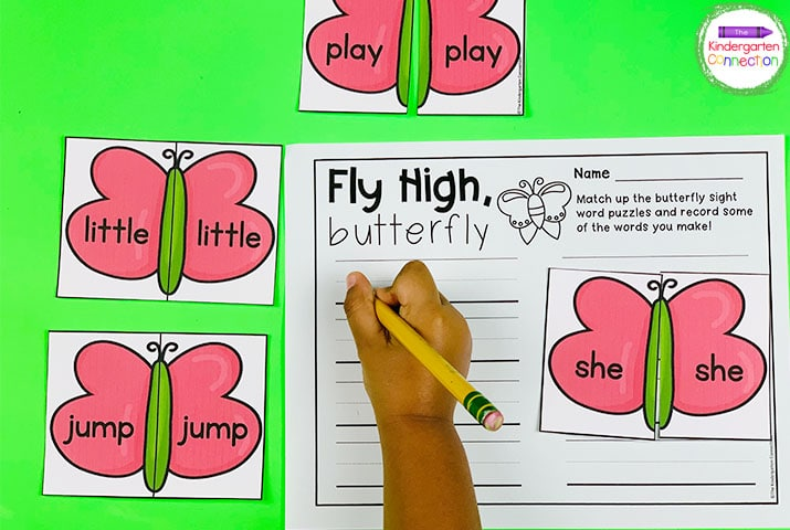 The fun color pictures and game pieces like these butterflies will have your students lining up to practice their sight words!