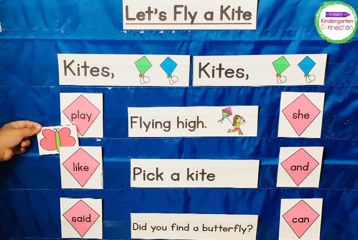 This pack also includes themed pocket chart chants and games like this Let's Fly a Kite activity.