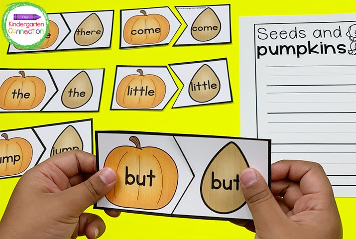 This editable sight word games pack includes themed matching activities like our Fall Seed and Pumpkins game.