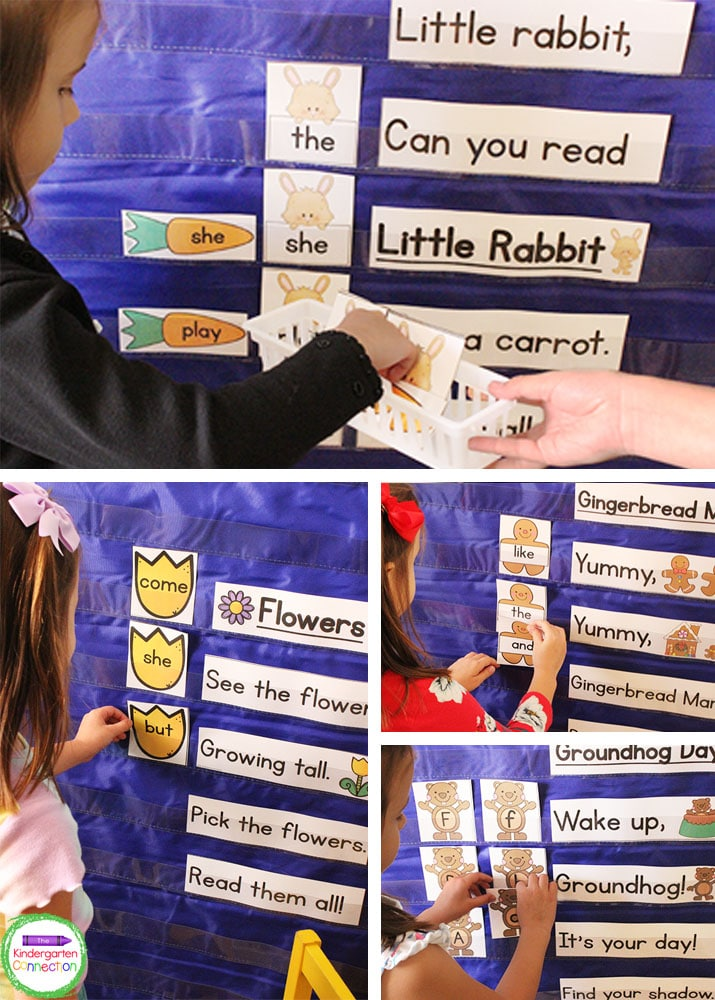 Use these pocket chart activities and chants to practice sight words, letter recognition, and letter sounds.