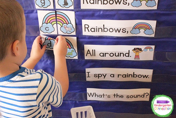Our monthly themes include a rainbow chant and beginning sound matching game.