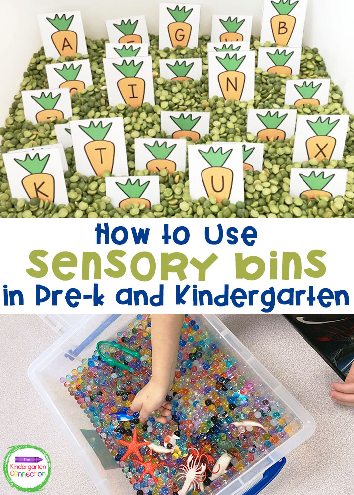 Learn how to use sensory bins in the classroom to encourage fine motor practice and sensory stimulation with your Pre-K and Kindergarten students!