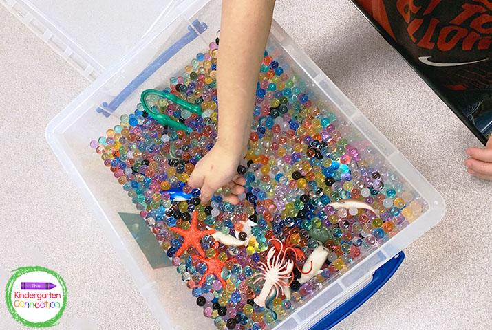Sifting through a sensory bin for small objects is great for building fine motor skills.