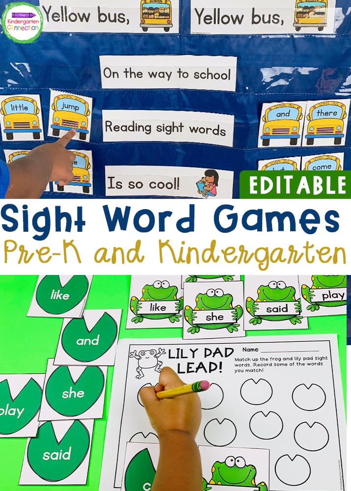 This Editable Sight Word Games and Centers BUNDLE is the perfect resource for your Pre-K and Kindergarten classroom with activities for the whole year!