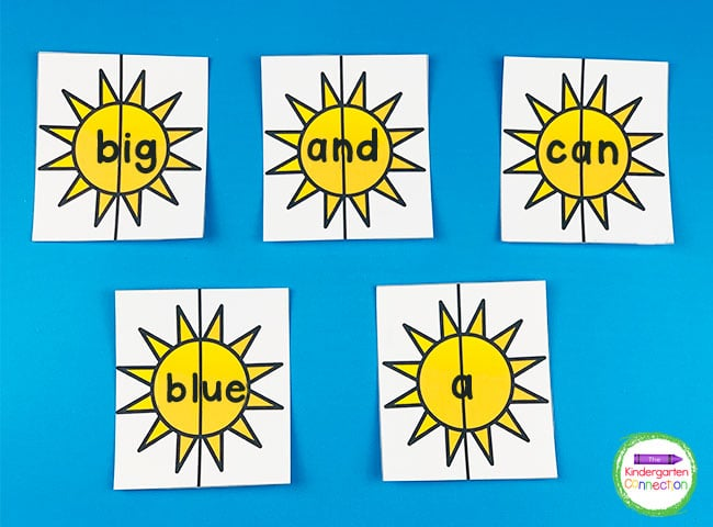Print the sight word puzzles on cardstock and laminate for durability and reuse in literacy centers.