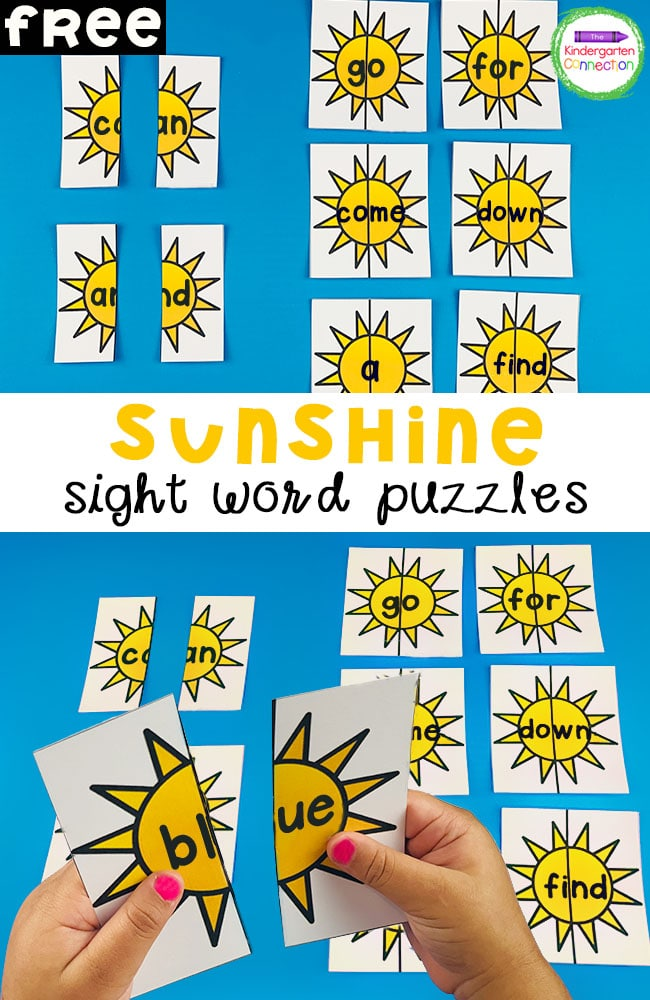 These free Sunshine Sight Word Puzzles for Kindergarten are a fun, easy-prep literacy center! Plus, they are editable!