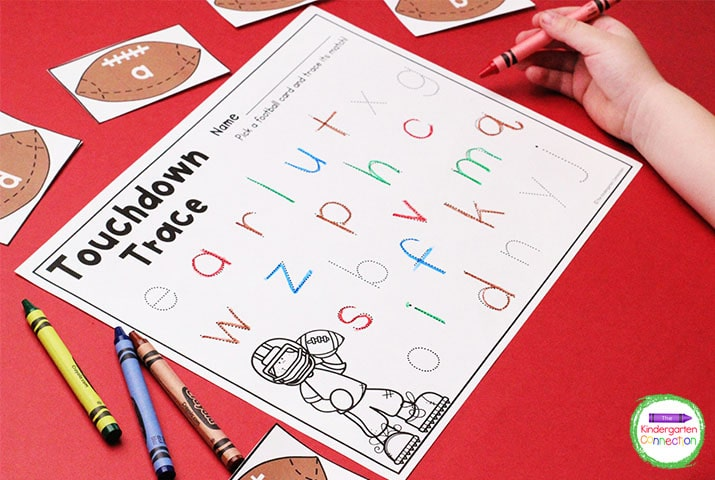 This literacy center for Pre-K and Kindergarten comes with football letter cards (upper and lower case) and a recording sheet.