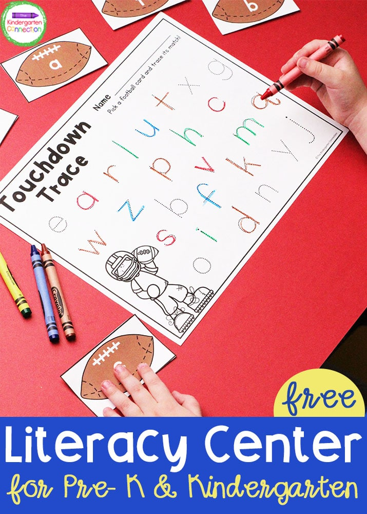 This FREE Football-Themed Literacy Center for Pre-K and Kindergarten is sure to get your students excited to practice literacy skills in the classroom!