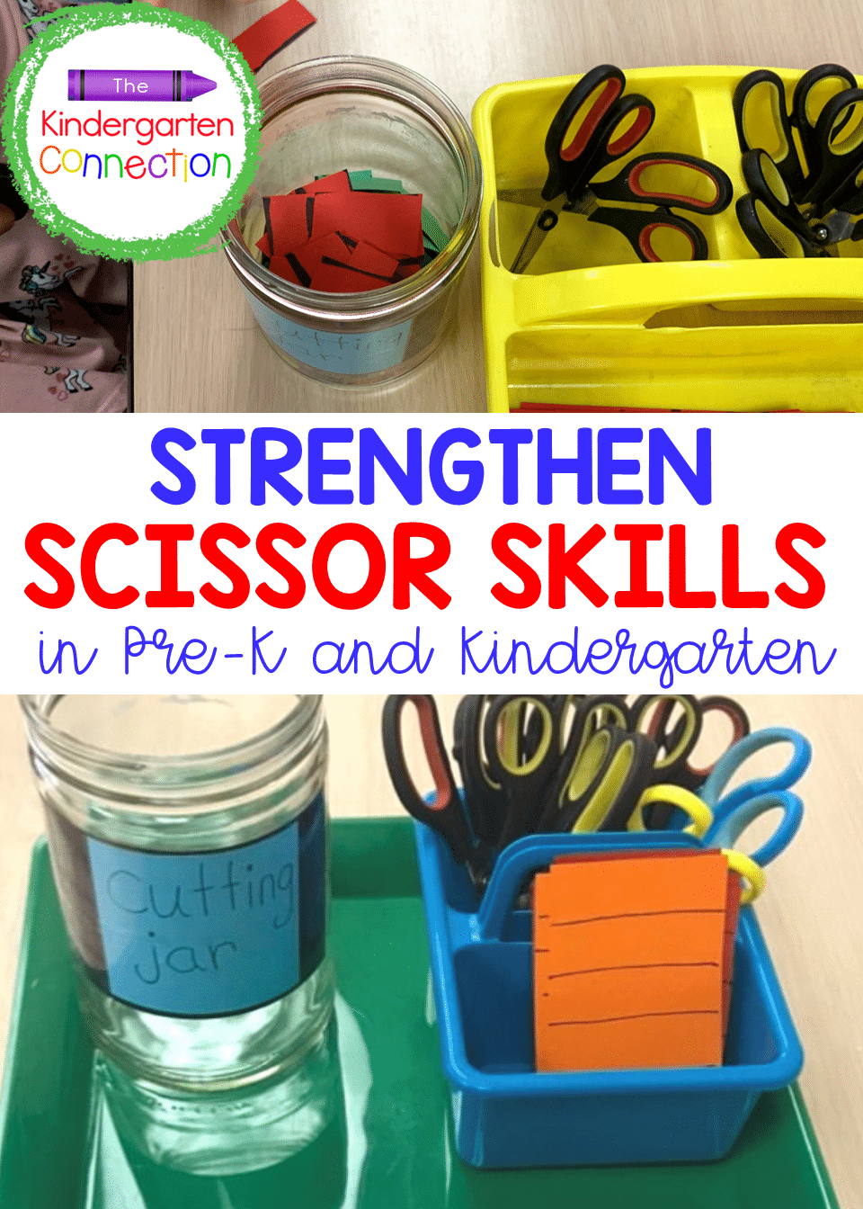 The Cutting Jar is a quick, but effective activity for simple scissor skills practice in Pre-K and Kindergarten!