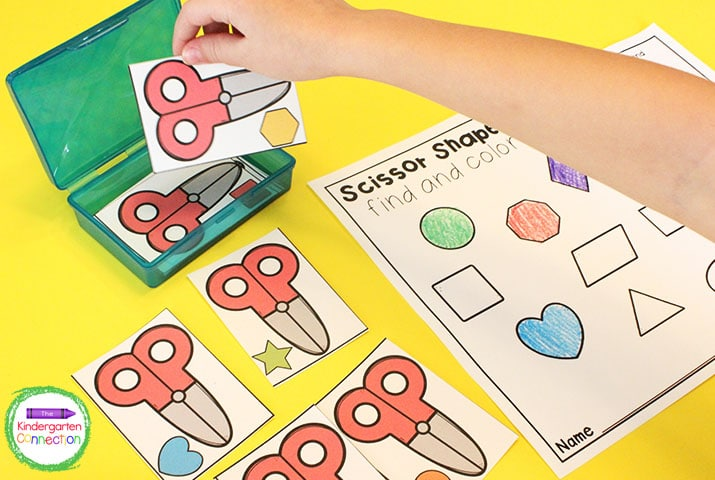 "In ""Scissor Shapes Find and Color,"" students pick a scissor shape card and color in the matching shape on the recording sheet."
