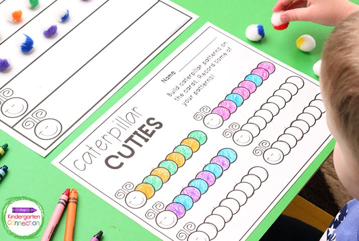 """Students practice building and identifying patterns with this """"Caterpillar Cuties"""" activity."""