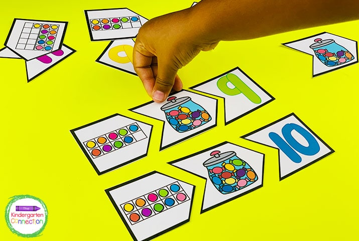 The number puzzles encourage 10 and 20 frame practice that can be played more than one way.