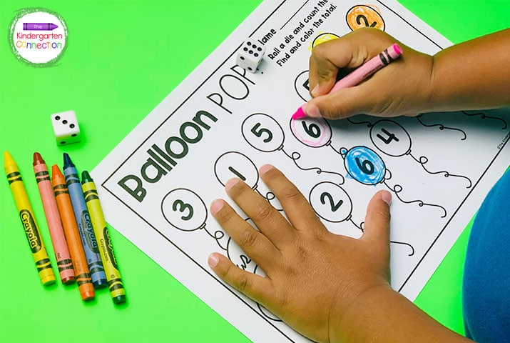 """Practice addition and have fun with the """"Balloon Pop!"""" addition and counting game."""