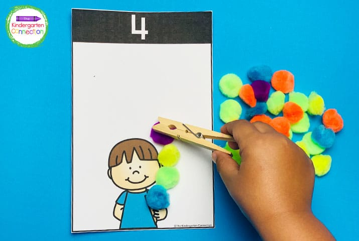 Use clothespins to count and add pom poms to the ice cream cone mats to build fine motor and counting skills.