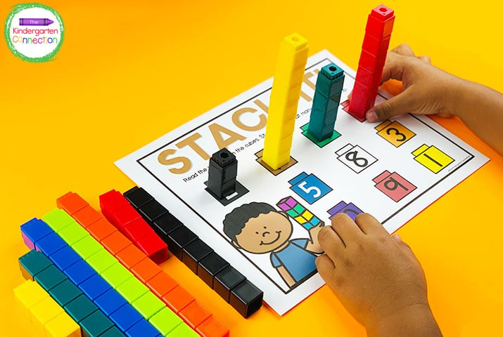 """Just add unifix cubes to the number mat and you have a fun counting center ready to go with """"Stack It!"""""""
