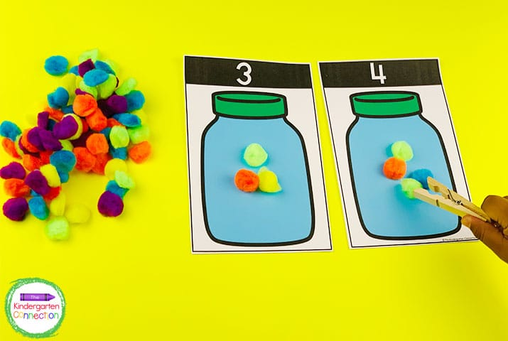 Choose between activities for matching or straight counting to allow for differentiation like in this pom pom counting center.