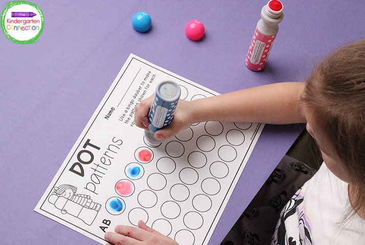 """Students can use bingo daubers or crayons to build their own patterns in """"Dot Patterns!"""""""