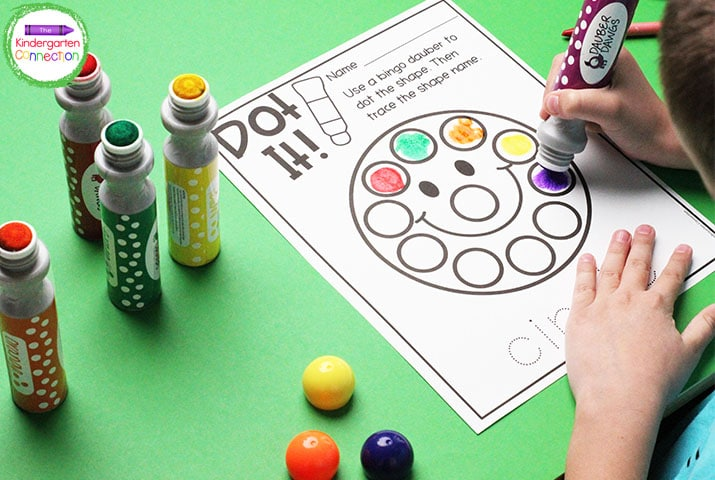 """In """"Dot It!"""" students dot the simple shape and trace its name. Or, dot the shape and color objects in the environment."""