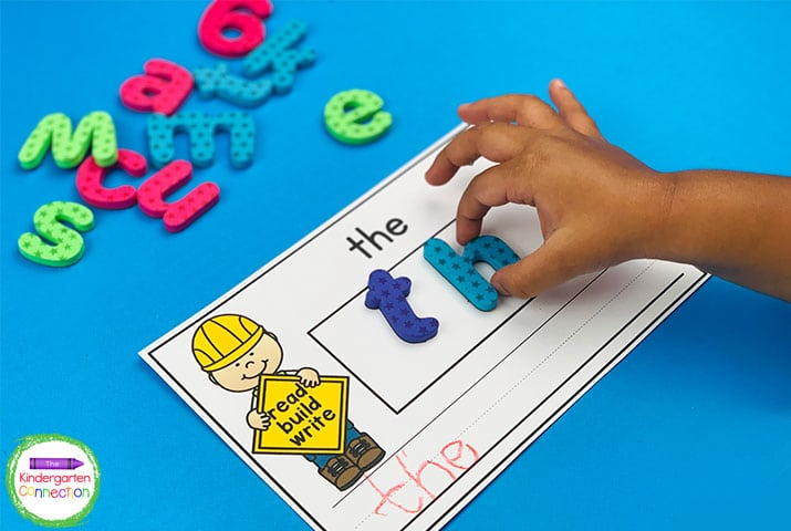 Build sight words with magnet letters in this super fun sight word center!