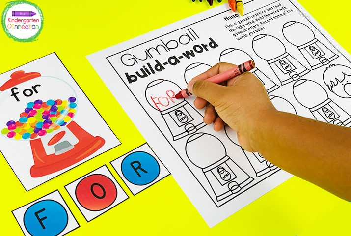 "Build sight words with the gumballs, then record the words you build on the recording sheet in ""Gumball build-a-word."""