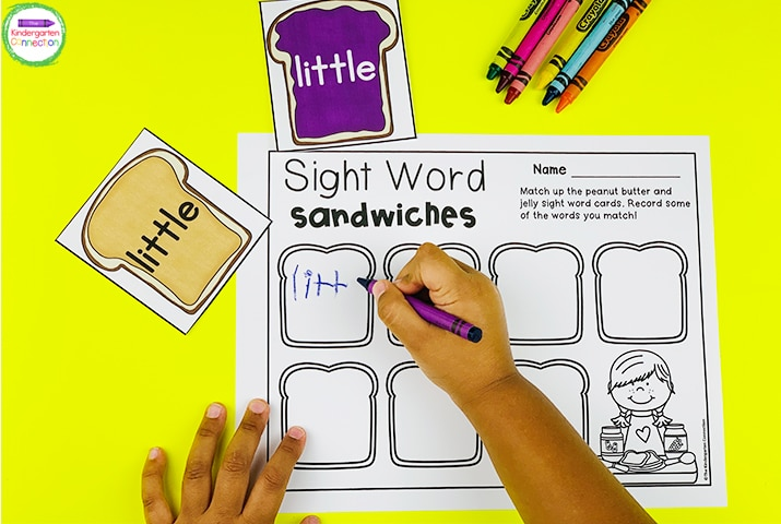 "Match up words and record them on the optional recording sheet in ""Sight Word Sandwiches."""