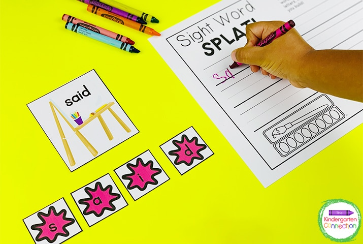 """Sight Word Splat!"" is a fun, paint-themed sight word game with an optional recording sheet."