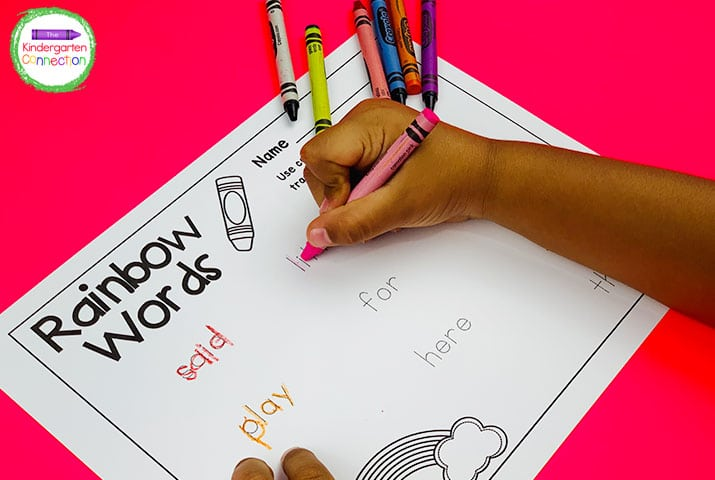 "Your students will love tracing over their sight words in ""rainbow writing"" style!"