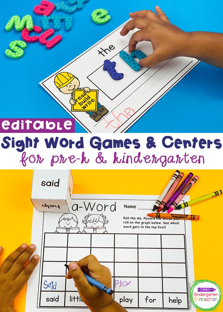 These EDITABLE sight word games and centers are a great time-saver for teachers and super engaging for students!
