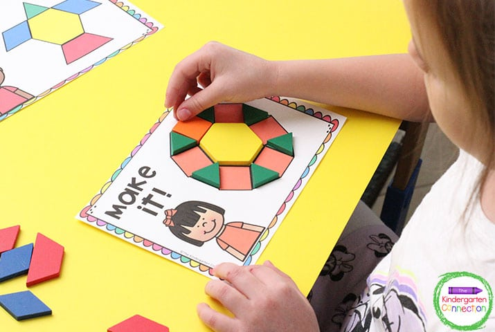 Students can use tangrams to see how putting different shapes together can make a new shape.