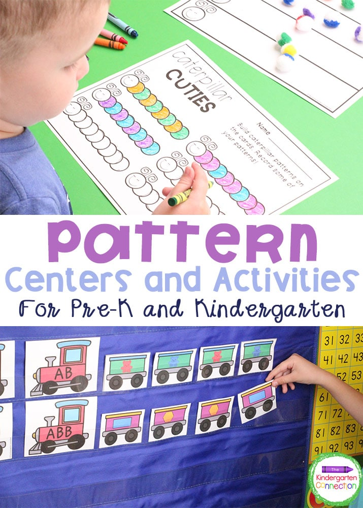Grab these Pattern Activities and Centers for Pre-K & Kindergarten to strengthen the important math skills of being able to recognize and build patterns!