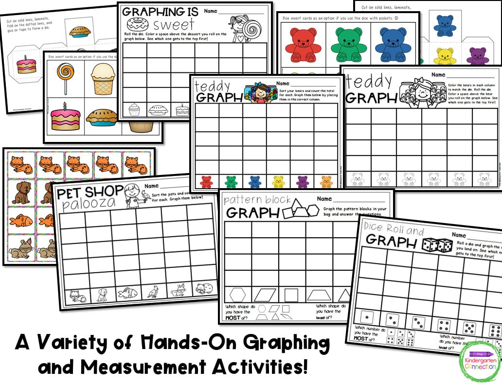 This pack includes 9 different graphing activities and 8 different measurement activities for hands-on learning.