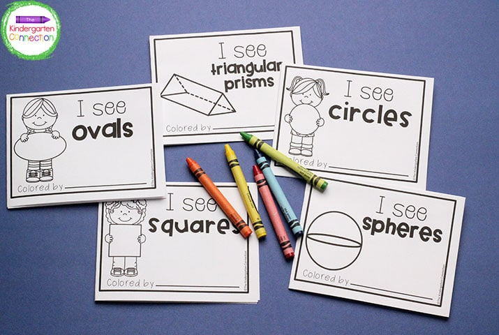 Each shape mini book focuses on one shape and has examples of where a student would see that shape in the real world.