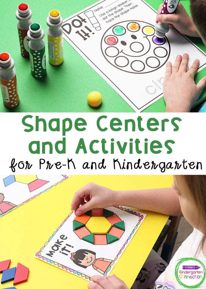 These 13 Shape Activities and Centers are perfect for Pre-K and Kindergarten classrooms to explore important foundational math skills.