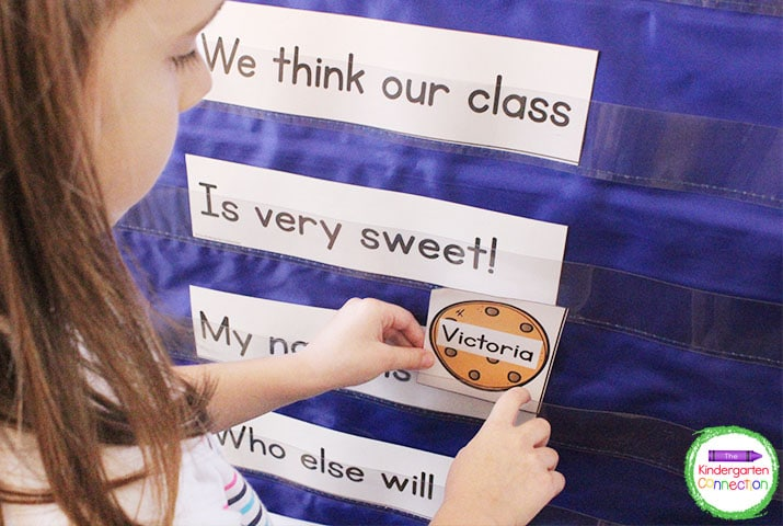Students will love saying the chant together and placing their name in the pocket chart!