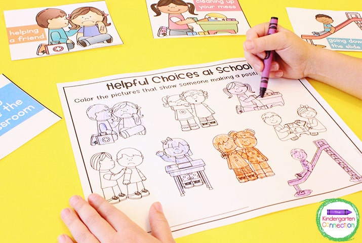 This social-emotional activities pack includes illustrations that help students identify helpful choices.