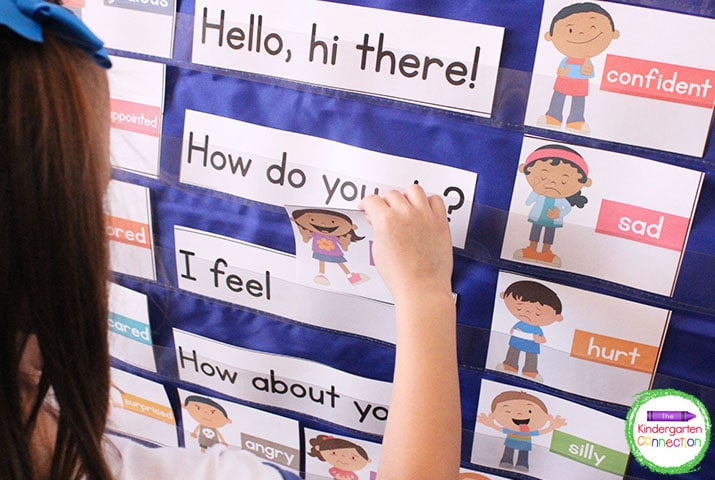 Students take a turns choosing the feeling card that shows how they feel that day and placing it in the pocket chart.