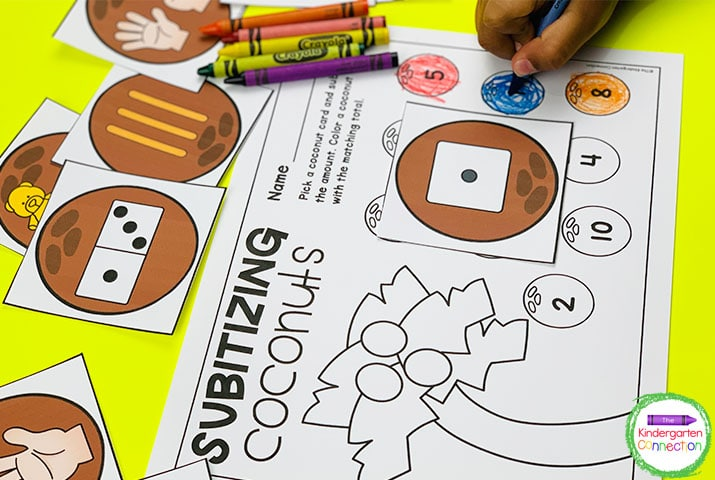 In Subitizing Coconuts, students pick a coconut card, count, and color the matching amount on the recording sheet.