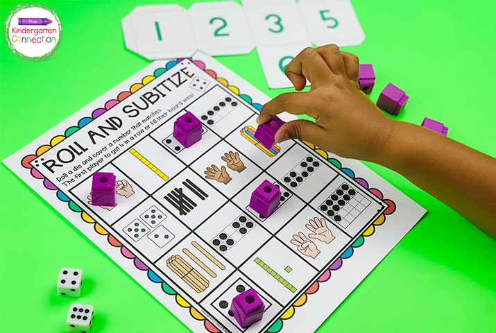 In Roll and Subitize, students roll the die and cover the matching number on the activity sheet.