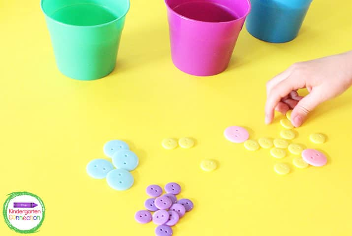 Students can use items from home for hands-on manipulatives. Buttons are great for counting and sorting!