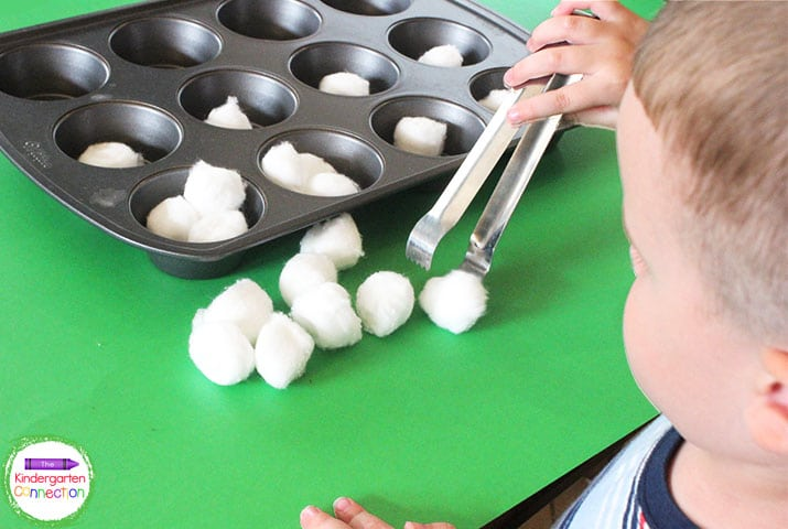Cotton balls and tongs are great learning manipulatives for practing counting and fine motor skills.