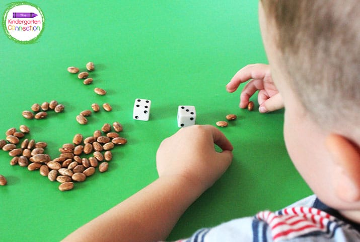 Roll a pair of dice, add the dots, and use dried beans as learning manipulatives to model the answer.