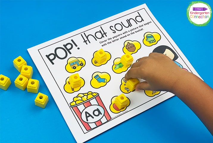 Draw a popcorn bowl letter card and find and cover the picture with the matching beginning sound on the Pop! That Sound! printable.